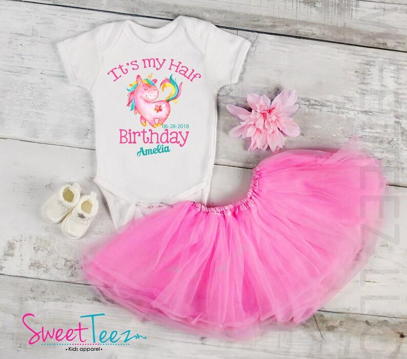 23f4b9946 Half Birthday Shirt Baby Girl Unicorn Half Birthday Shirt | Etsy