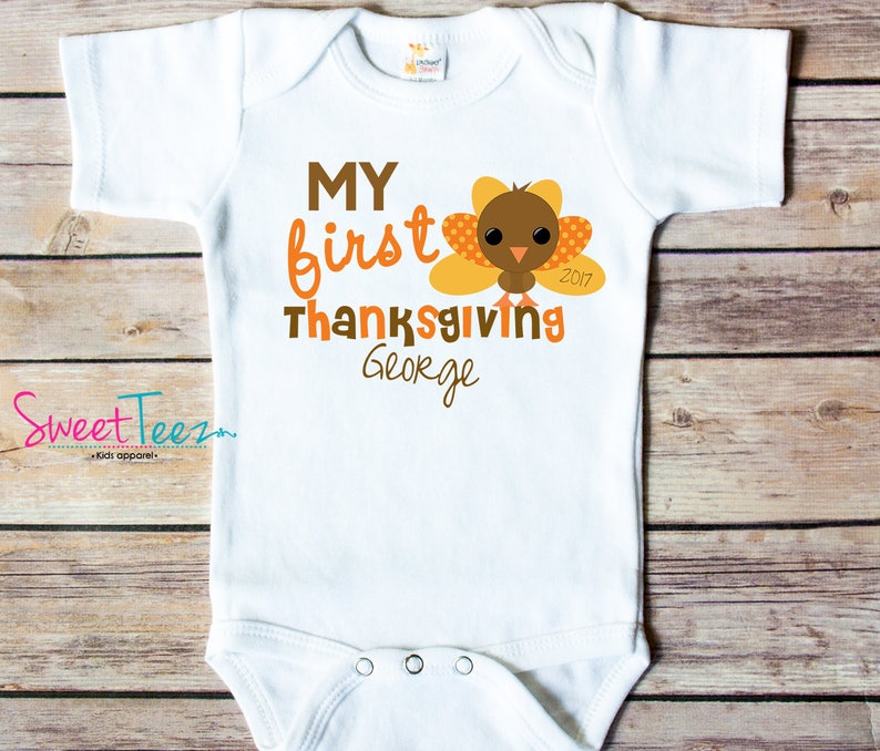 37c3da73c4266 My First Thanksgiving Shirt Turkey Baby Bodysuit Personalized | Etsy