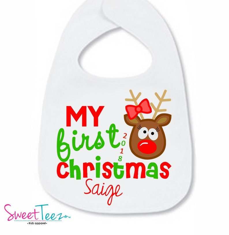 My 1st Christmas Santa Embroidered Baby Bib Gift Personalised First Xmas