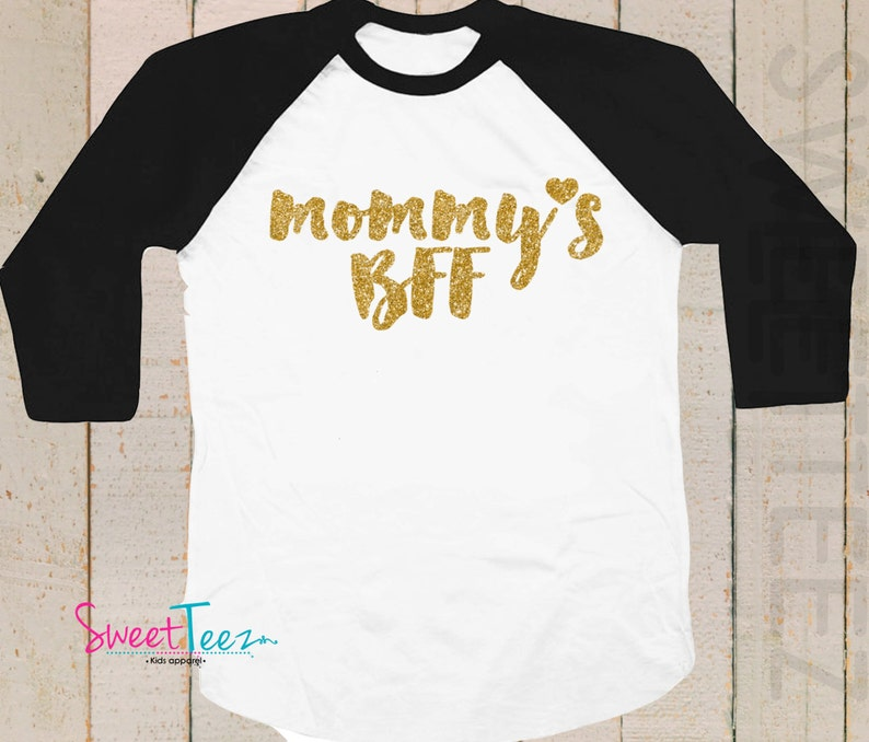 8db0be5d Mommy's BFF Shirt Gold Glitter Heart Sparkly Girl Shirt | Etsy