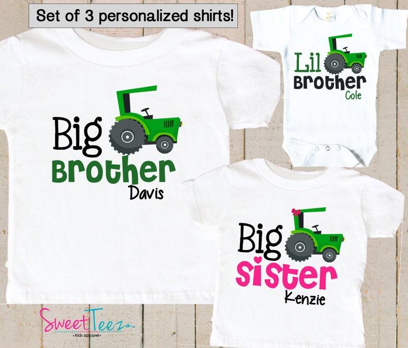 Big Sister Big Brother Little Brother shirt set - Matching Sibling Shirts -  Personalized Shirts - Set of 3 Sibling Shirts - big Sister gift
