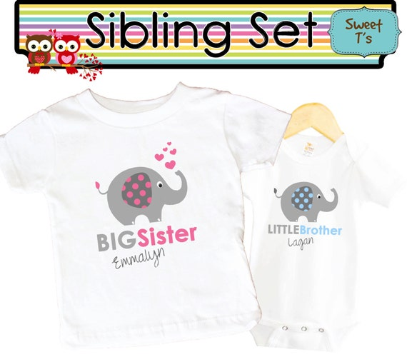 46431392 Elephant Shirt SET Big Sister Little Brother shirt Sibling | Etsy
