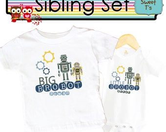 Big Brother little Brother Robot Shirt SET Sibling Personalized Shirts bodysuit SET