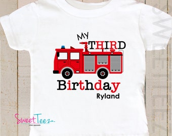 3rd Birthday Shirt - 3rd Birthday shirt For Boy - 3rd Birthday tshirt - Firetruck Birthday Shirt - 3rd Birthday Firetruck Shirt