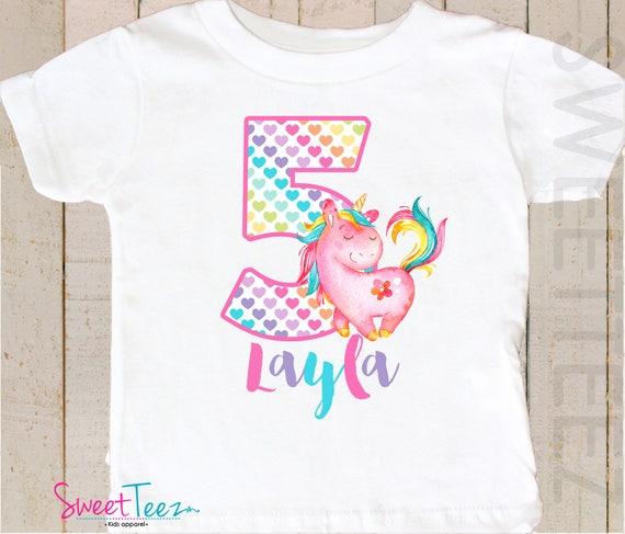 Personalised Unicorn Gift for Girls 5th Birthday Unicorn T Shirt for Girls Age 5 Add Name
