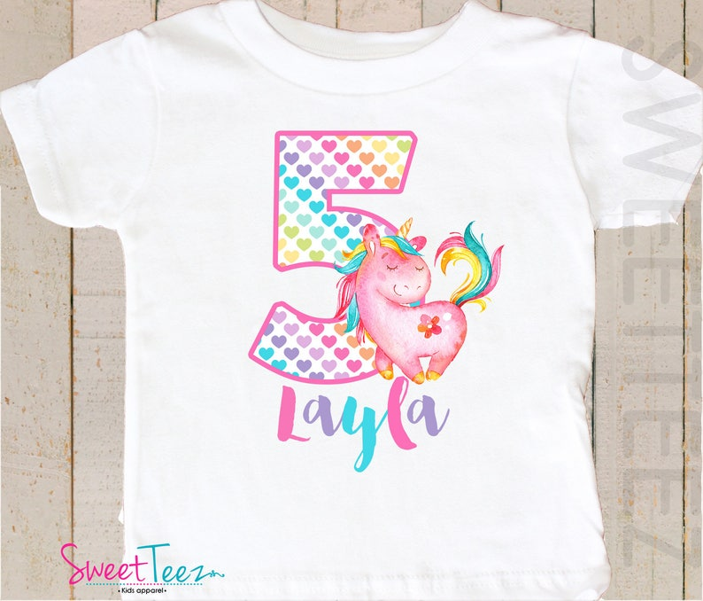 5th Birthday Shirt Personalized Unicorn