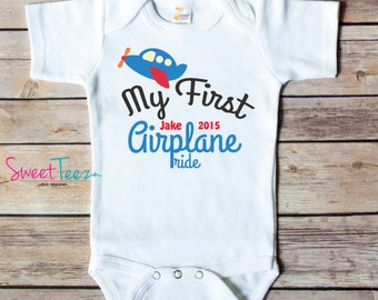 My First Airplane ride Shirt Vacation Baby Bodysuit Personalized