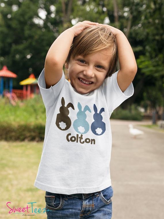 Boys Easter Shirt Boy Easter Bunny shirt or Bodysuit - Easter Bunny shirt personalized- Boys T Shirt