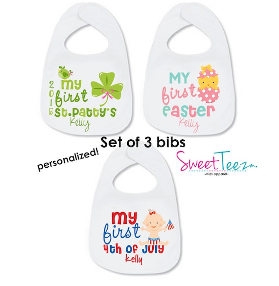 Personalized First St Patricks Day Bib Set Baby Boy My First Easter Set Gift For a Baby