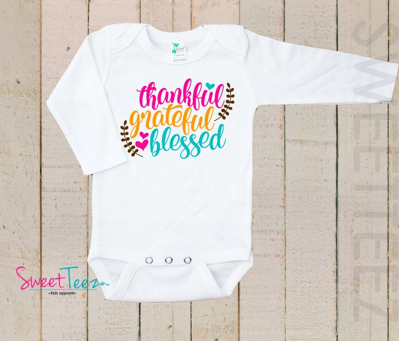443cf2394 Thankful Shirt LONG SLEEVE Grateful Blessed Girl Thanksgiving | Etsy