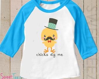 Chicks Dig Me Shirt Easter shirt Boy Blue Raglan 3/4th Sleeve Shirt Funny Baby  Toddler Youth Shirt
