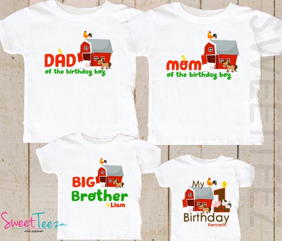 Shirt SET Of 4 Farm Birthday Shirts Mom Dad Brother