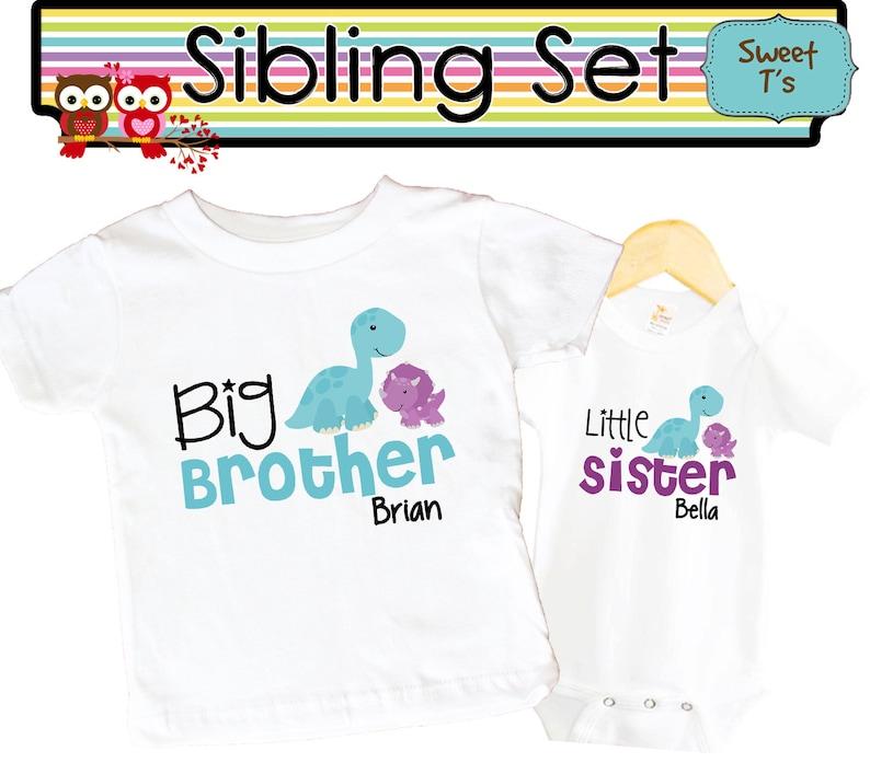 b6c90821bcea Big Brother Dino Shirt SET Little Sister Dinosaur Sibling | Etsy