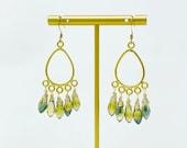 Forest Green Austrian Teardrop Dangle Chandelier Earrings, Briolette Faceted, Wire Wrapped, Vermeil 24K gold plated