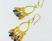 Ocean Blue And Tangerine Austrian Teardrop Dangle Chandelier Earrings, Briolette Faceted, Wire Wrapped, Vermeil 24K gold plated