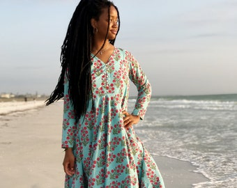 Blue and pink Floral Block Print Dress, Boho Maxi Dress, Indian Hand Block Print Fabric