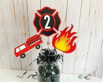 Firetruck centerpieces * Firetruck party * Firetruck birthday party decorations * Firefighter birthday * Firefighter baby shower * fireman