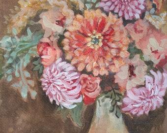 Original Fall Flowers Painting on Paper, Watercolor and Acrylic, Orange Brown Artwork, Autumn Floral, Dahlias, Zinnias