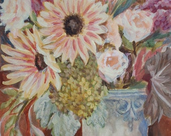 Original Watercolor Acrylic Flowers Painting, Mixed Media on Paper, Sunflowers, Watercolor Acrylic Painting, Floral Painting