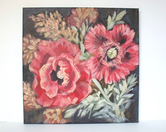Original Poppy Painting, Acrylic on Canvas, Flowers Painting, Red and Black Floral
