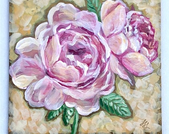 "Pink Roses- 6"" x 6"" original painting- acrylic on panel- flowers- original art- miniature painting- floral art"