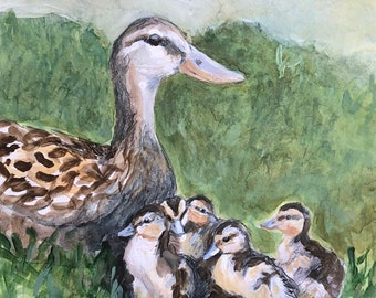 "Ducklings Watercolor, ""Little Ducklings"", Mother Duck, Watercolor and Pencil on Illustration Board, 9"" x 12"""