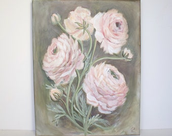 Pink and Indigo-Floral Sketch Peony Painting Acrylic Flower Painting Flower Art