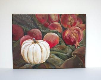Original Still Life Painting, Pumpkin and Pomegranates, Acrylic on Canvas, Cream, Olive, Red, Original Wall Art