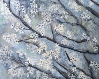 "Original Painting, Blossoms, Floral, Acrylic Painting, Impressionism,""Shining Through"", 16"" x 20"", Interior Design, Blue Grey Wall Art"