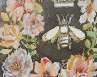 Original Mixed Media Watercolor Collage on Paper, French Bee, Crown, Napoleonic Bee, French Country Decor