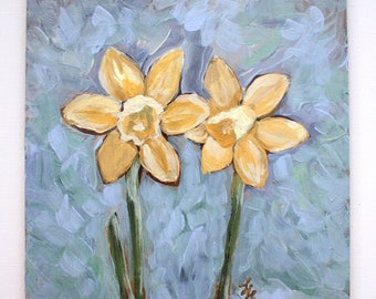 "Daffodils- 6"" x 6"" original painting- acrylic on panel- flowers- original art- miniature painting- floral art"