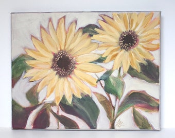 """Sunflowers Painting, Original Floral Art, Yellow Flowers, Acrylic on Canvas 10"""" x 8"""""""