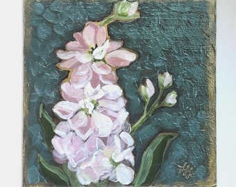 "Stock Flower - 6"" x 6"" original painting- acrylic on panel- flowers- original art- miniature painting- floral art"