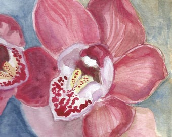 "Pink Orchid Watercolor, Flower Painting, Cymbidium, 5 "" x 7"""