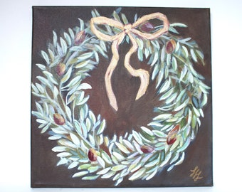 """Original Olive Wreath Painting, Olive Branches, Decorative Wall Art, 12"""" x 12"""""""