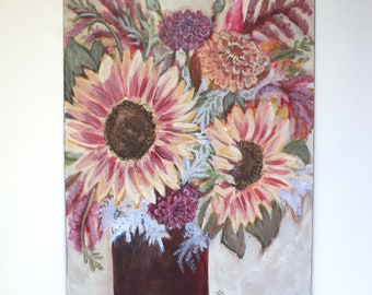 Original Acrylic Painting on Panel, Sunflowers, Mixed Media Painting, Floral Painting, Hard Board Panel