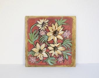 "Sunflowers Petite Painting-6"" x 6""- original gilded decorative floral art- acrylic on panel"