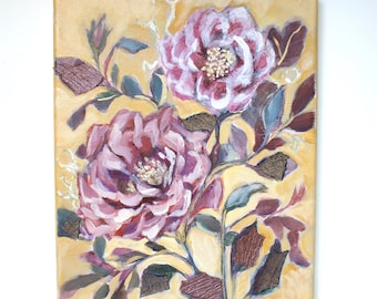 """Mixed Media Floral Painting, Roses, Collage, Original Artwork, Acrylic on Canvas 8"""" x 10"""""""