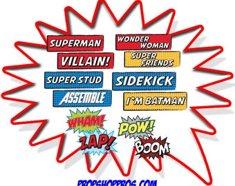 Super Hero Props | Comic Props | Super Hero Signs | Photo Booth Props | Prop Signs