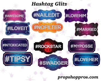 BEST SELLER Hashtag Props | Hashtag Signs | Photo Booth Props | Prop Signs
