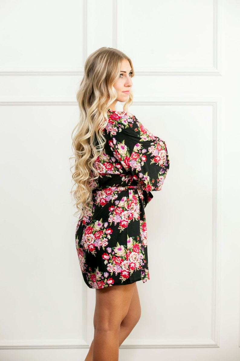 Black Floral Robe Handmade Bridesmaid Floral Robe Delivery  3c29da721