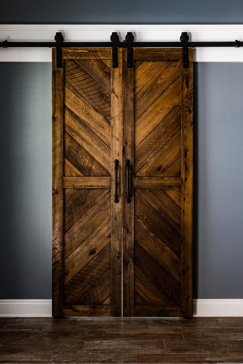 Solid Cypress Sliding Chevron Barn Doors Built To Order Etsy