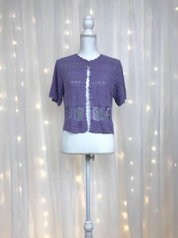 90s crochet SHEER crop top / lilac purple lavender