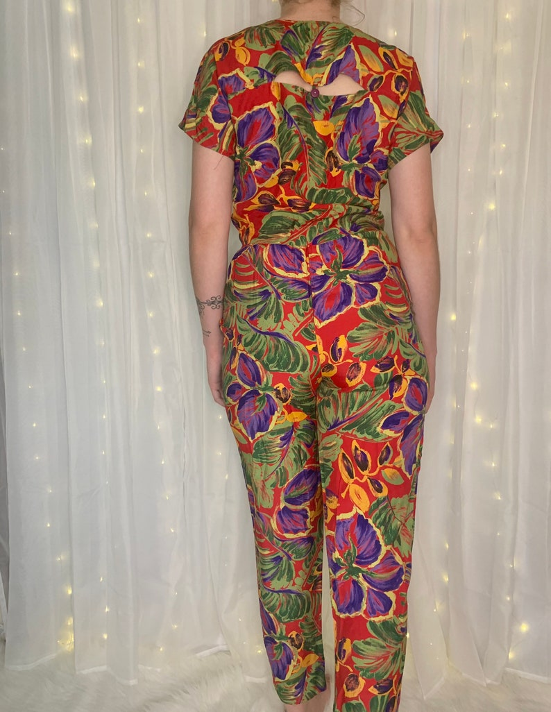 vtg 2 PIECE set  tropical floral  red green purple  two  high waisted crop top  button down  wrap skirt pants  size small medium