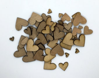 60 Wooden Heart Embellishments || 3 Sizes: 1cm / 2cm / 3cm || Love, Weddings, Friendship, Confetti, Table Decorations