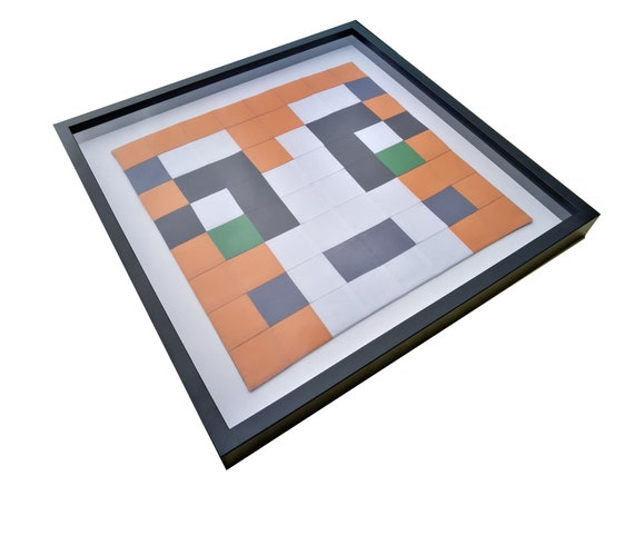 Stampy Minecraft Wall Art 64 Squares Sewn And Displayed In Black Box Frame