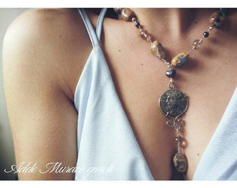 Long necklace with chalcedony and replica of ancient coin, silver and natural stones
