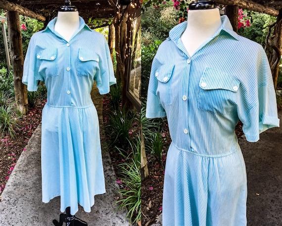 1960s/70s Volup Striped Shirt Dress - image 1