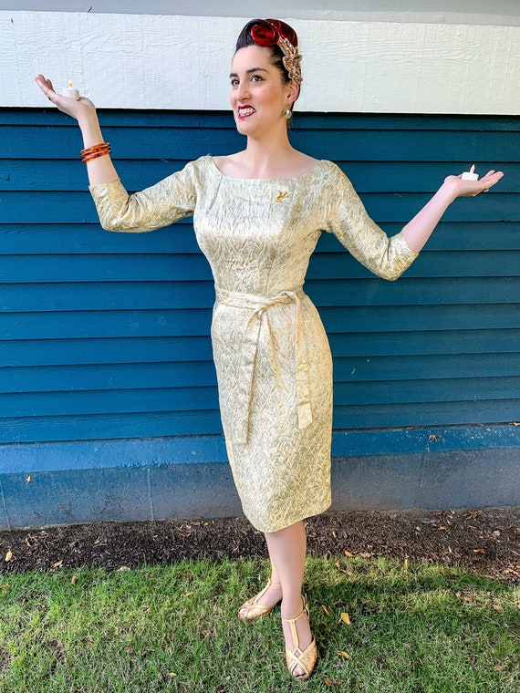 1950s Suzy Perette Brocade Dress