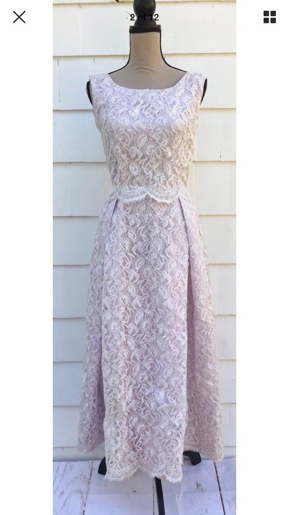 1950s Lavender Lace Prom Dress